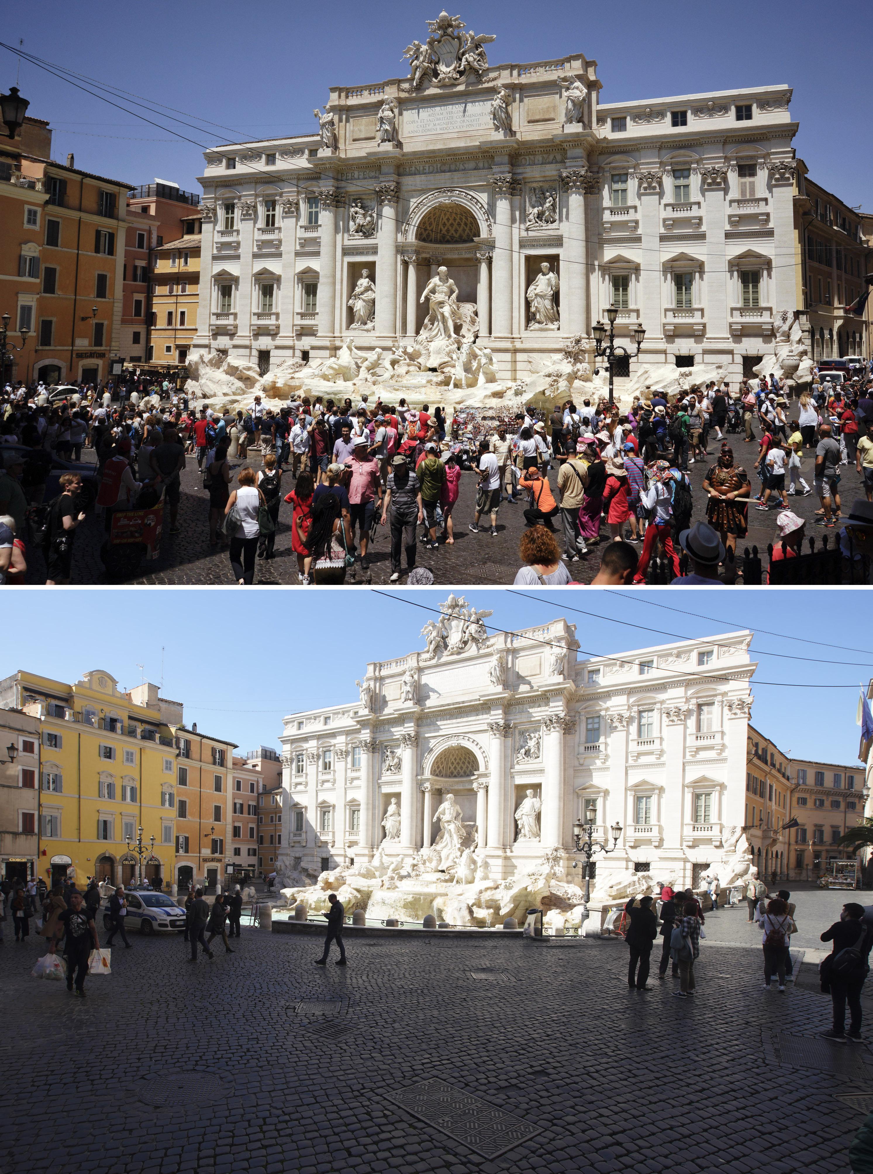 ARCHIVO - En esta imagen combinada, gente caminando en torno a la Fontana de Trevi, en Roma, a las 9:48 del lunes 12 de junio de 2017, arriba, y a las 13:00 del miércoles 11 de marzo de 2020. El grave brote de un nuevo coronavirus en Italia ha vaciado los monumentos de turistas y romanos. (AP Foto/Andrew Medichini)