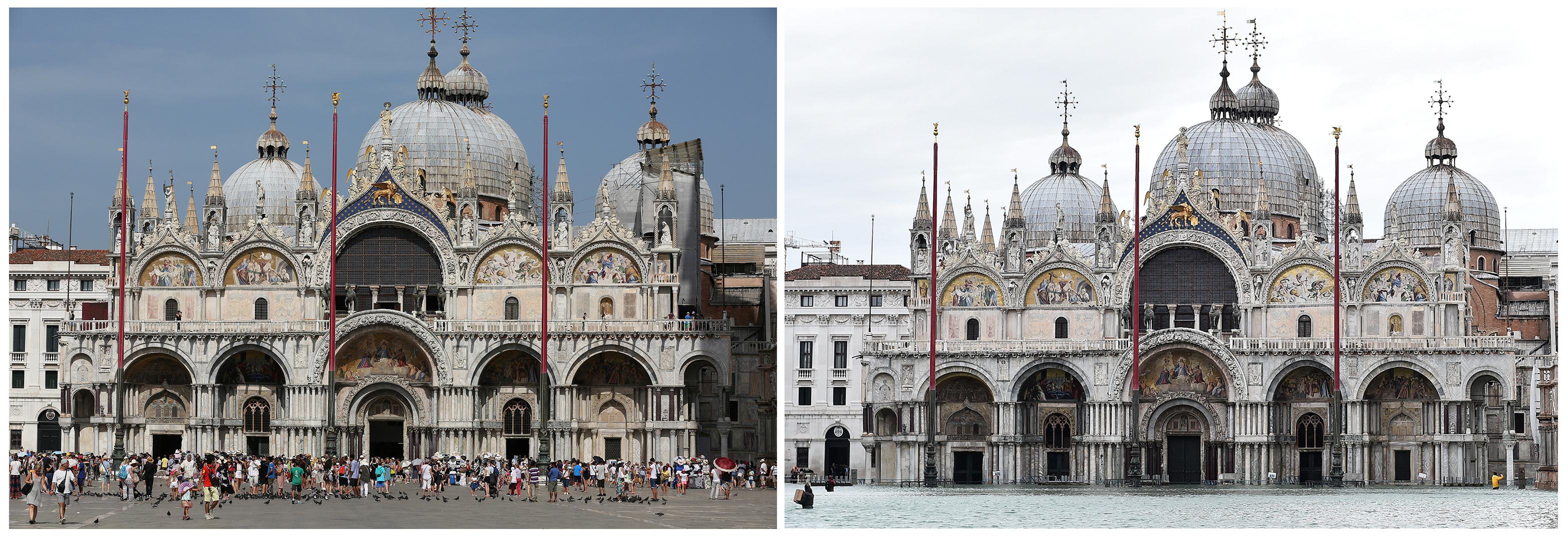 La Basílica de San Marcos, antes y después de la inundación que tiene en vilo a toda Italia (REUTERS/Stefano Rellandini, Flavio Lo Scalzo)