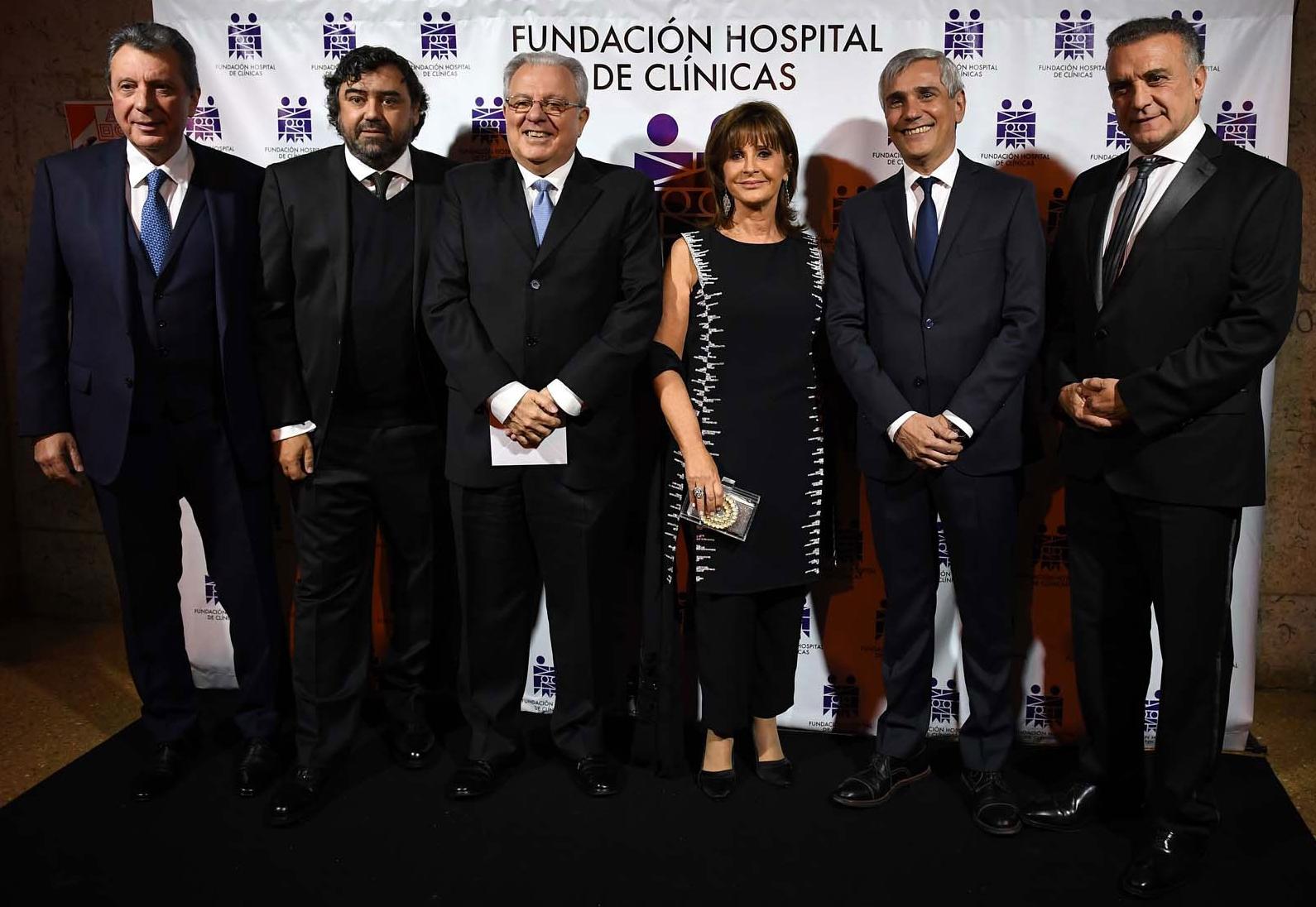 Carlos Rojo, Juan Cruz Ávila (vocal de la Fundación), Alberto Barbieri, Myriam Levi (vicepresidente 2ª de la Fundación), Pedro Insausti y Marcelo Melo, director del Hospital de Clínicas