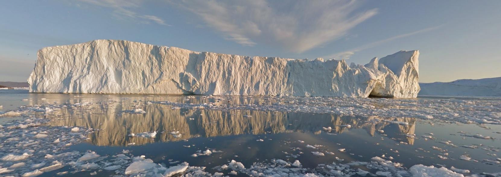 El fiordo de Ilulissat en la costa de Groenlandia.