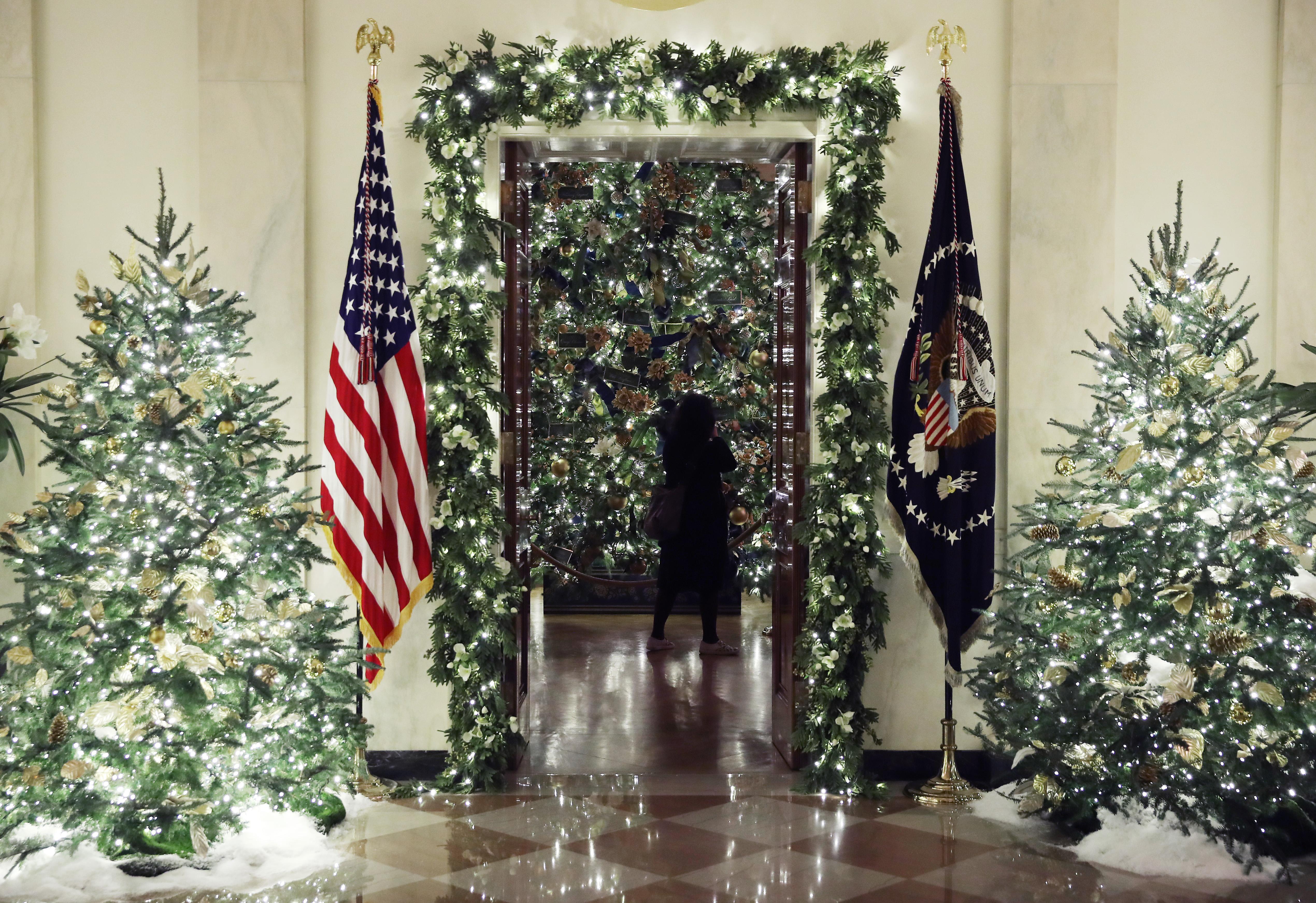 Las banderas de país y de la fuerzas armadas colgando en el Gran Salón entre los arboles de navidad. Mark Wilson/Getty Images/AFP