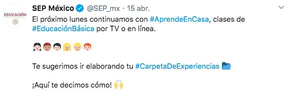 Captura de la pantalla de un tuit de la cuenta @SEP_mx