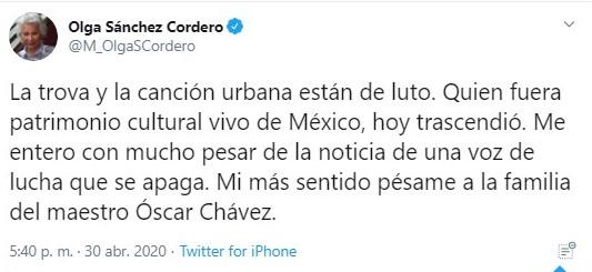 La secretaria de Gobernación lamentó el deceso (Foto: Twitter@M_OlgaSCordero)