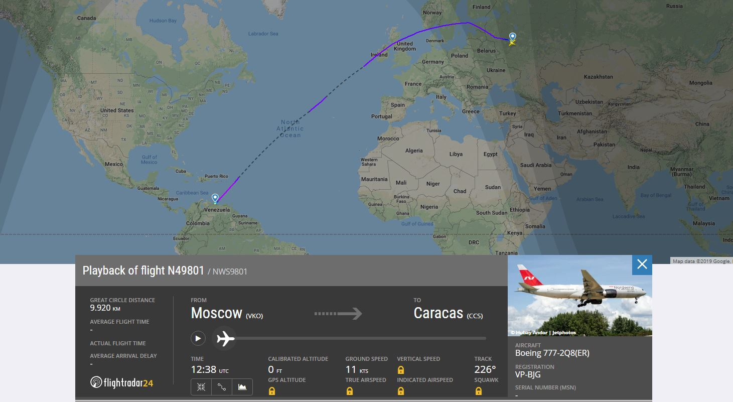 El misterioso vuelo entre Moscú y Caracas fue detectado en sitios de monitoreo aéreo (Flight Radar 24)
