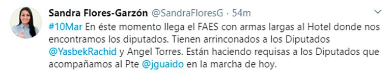 El tuit de Sandra Flores