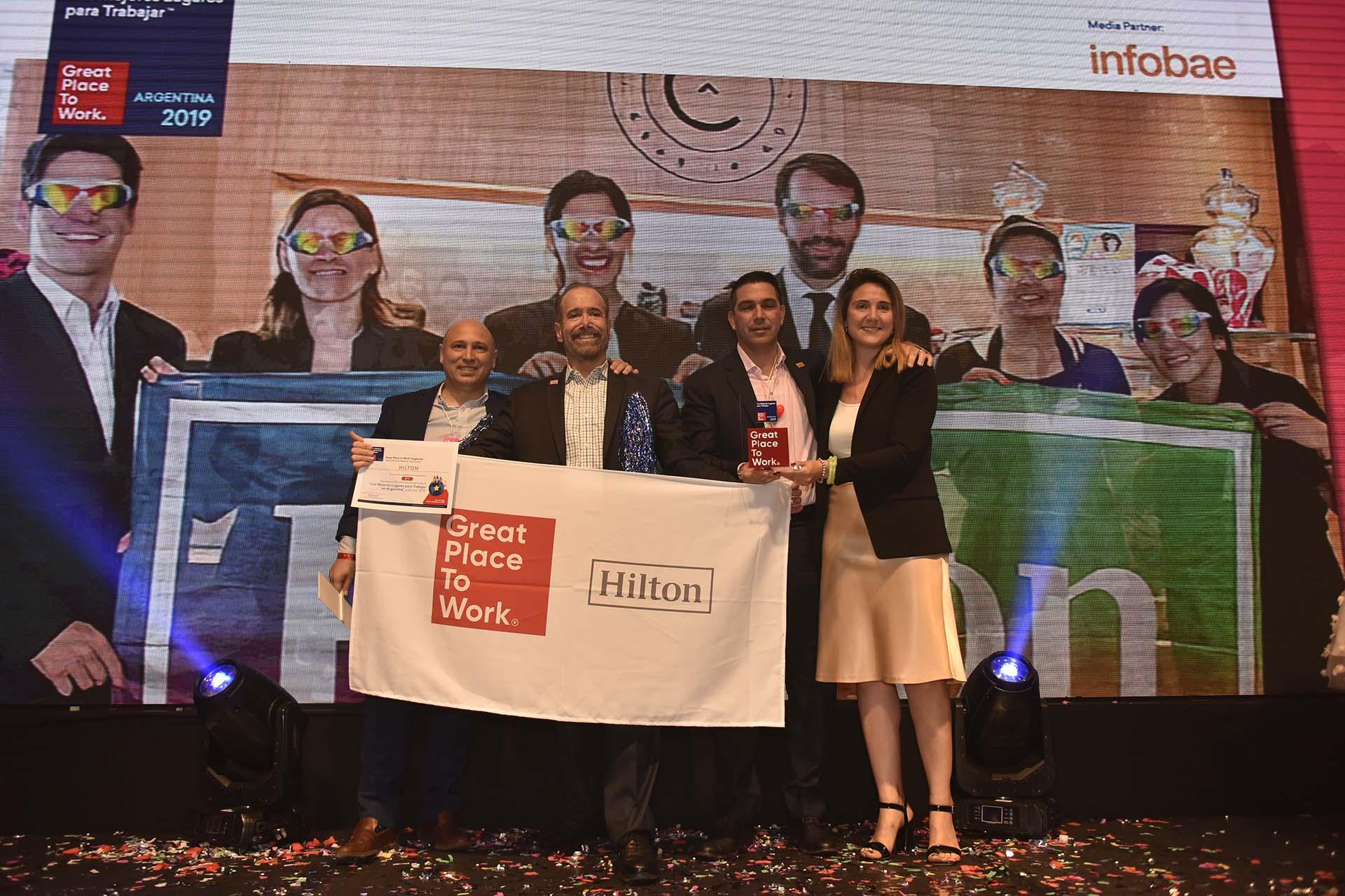 El equipo del Hilton Argentina participó por primera vez del ranking y se posicionó como el mejor lugar para trabajar en la categoría de 251 empleados a 1000 colaboradores