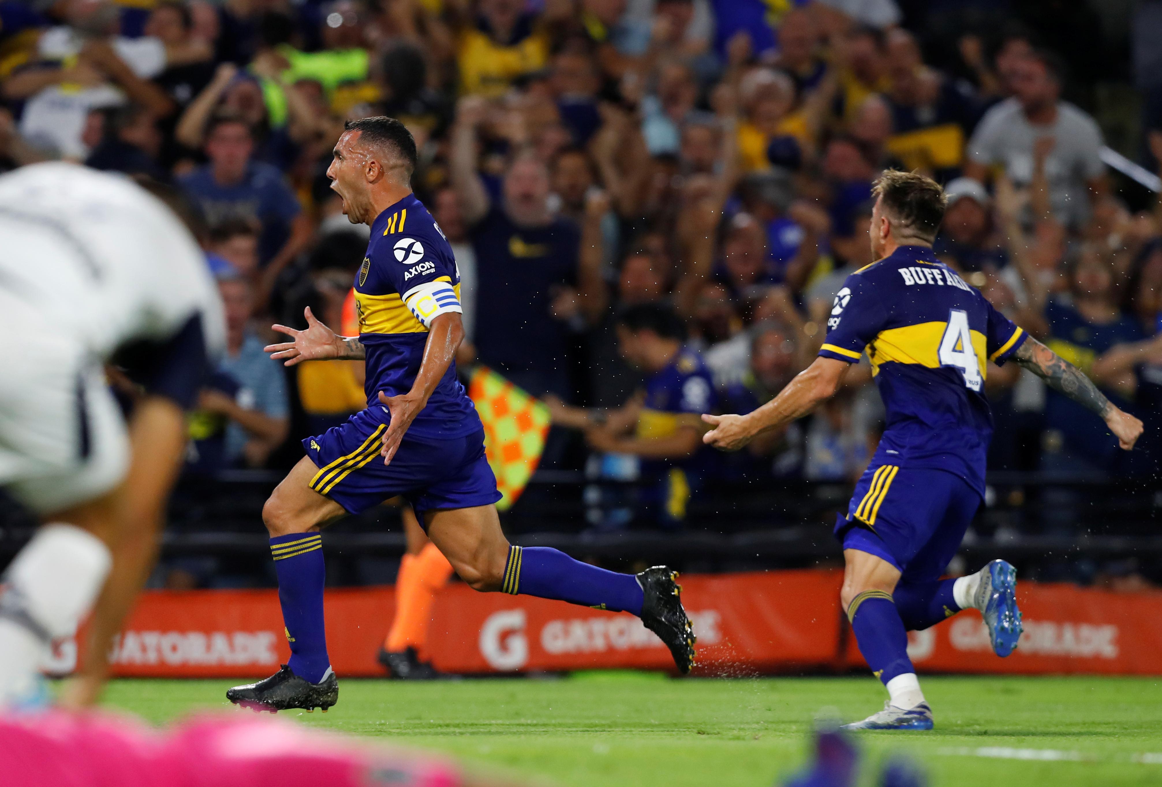 El festejo de Tevez en el gol de Boca (REUTERS/Agustin Marcarian)