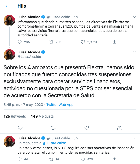 La titular de la Secretaría del Trabajo y Prevención Social anunció el cierre de 1,200 establecimientos de Elektra (Foto: Twitter)