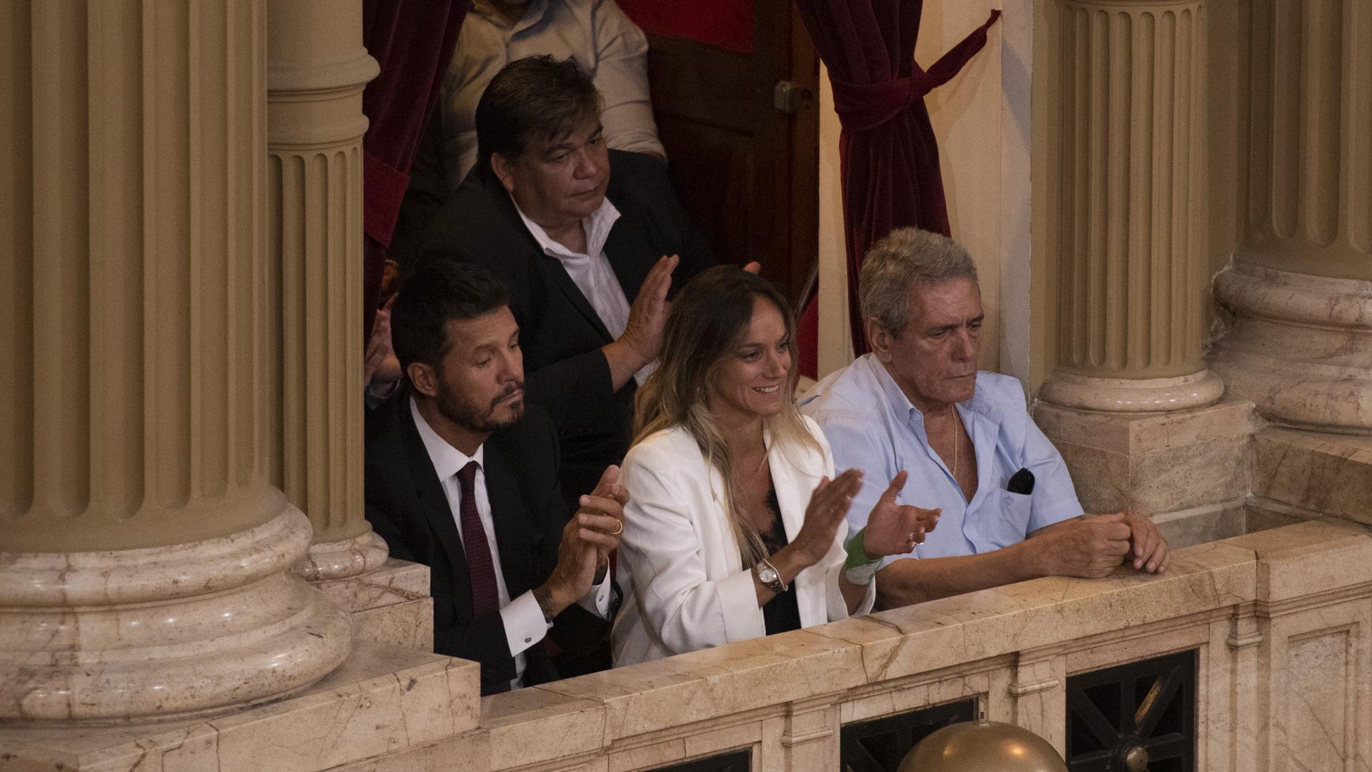 Marcelo Tinelli, Malena Galmarini y el sindicalista Carlos Acuña