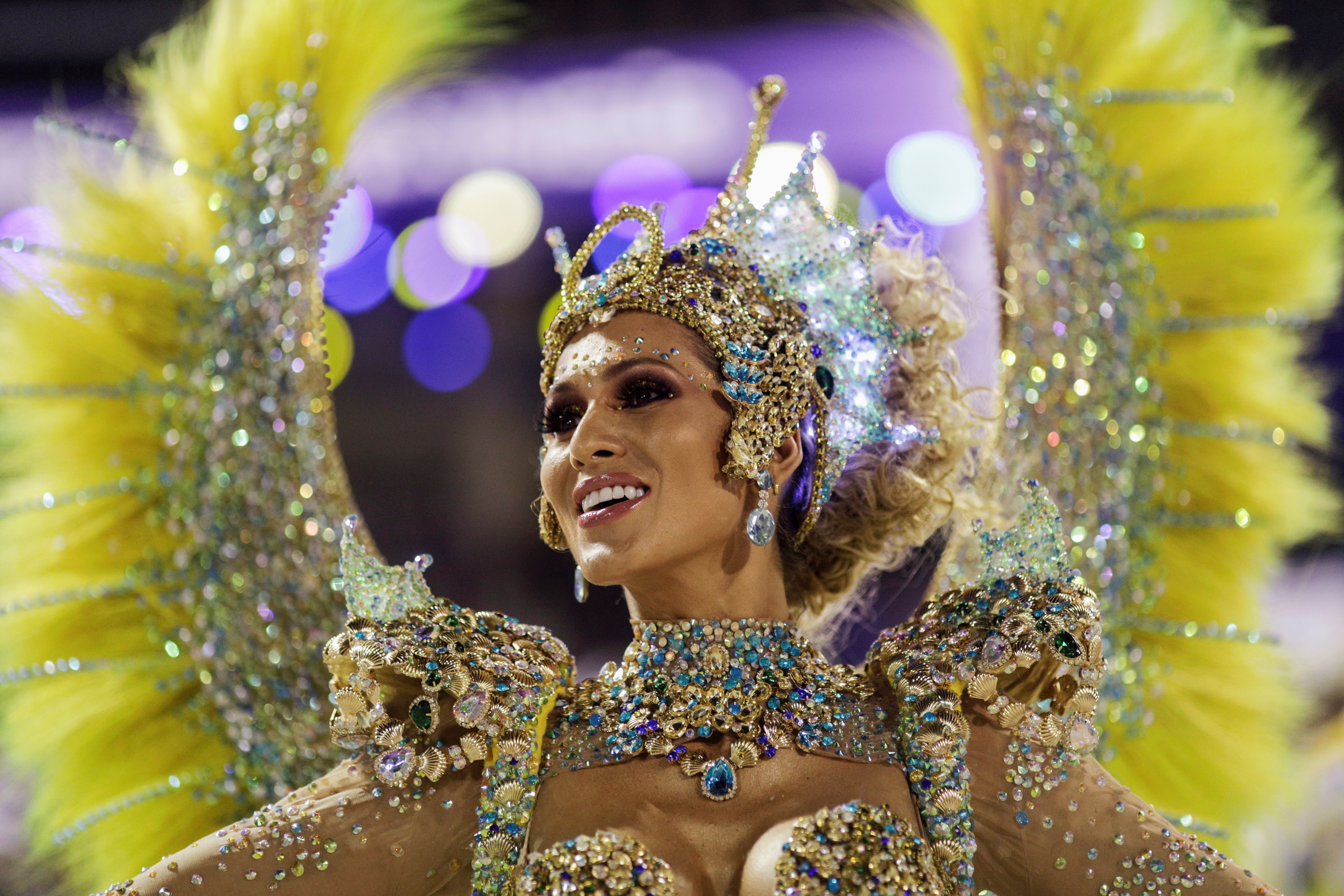 Drum queen Livia Andrade of Paraiso do Tuiuti samba school looks on during the first night of the Carnival parade at the Sambadrome in Rio de Janeiro, Brazil February 24, 2020. REUTERS/Ricardo Moraes
