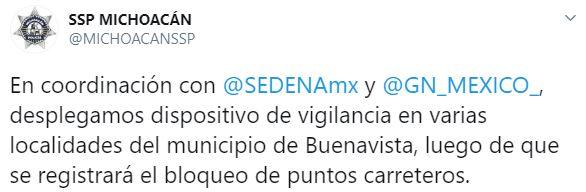 La SSP desplegó dispositivos de vigilancia en distintos puntos de Buenavista (Foto: Twitter/MICHOACANSSP)