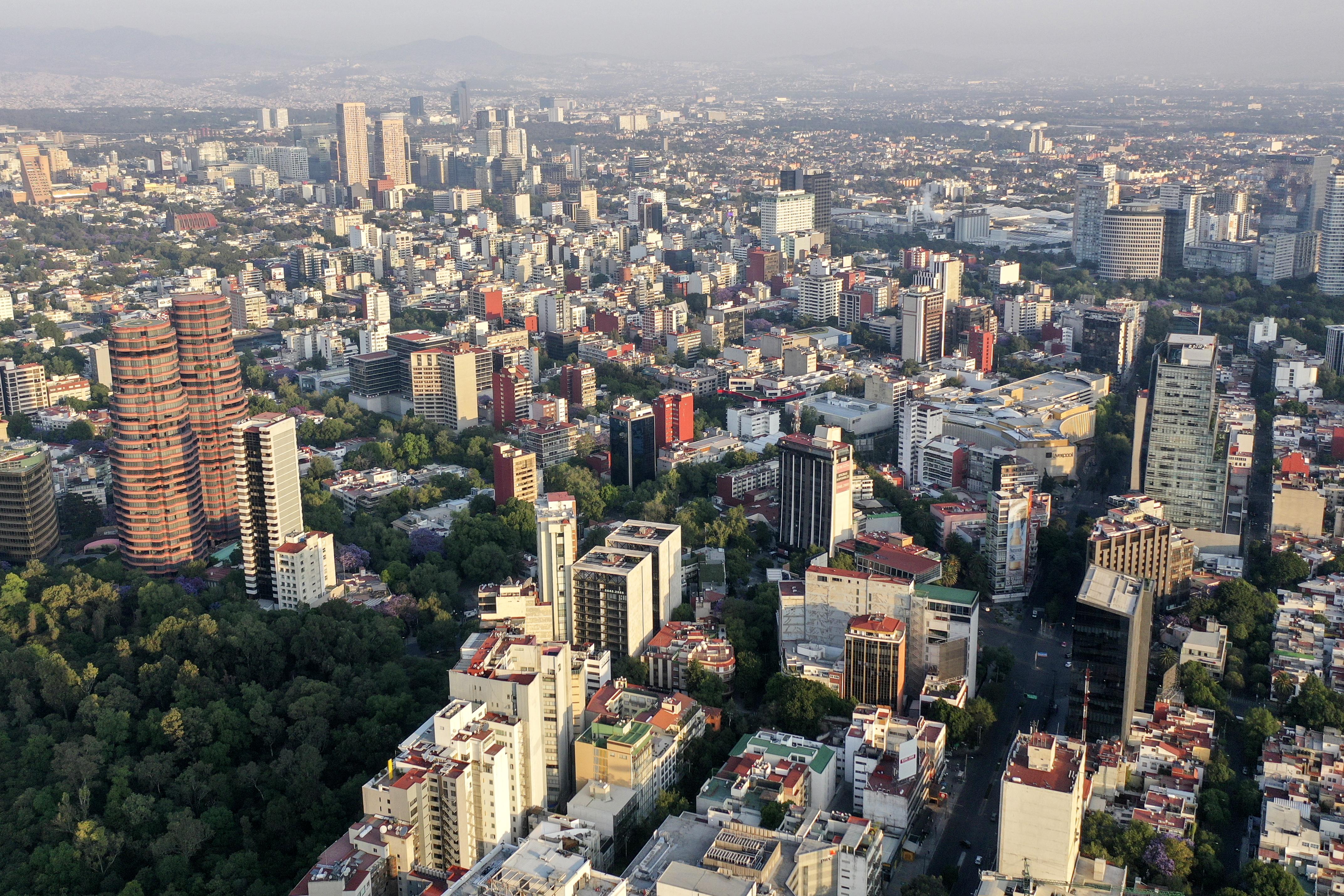 Vista aérea de Polanco en la Ciudad de México el 31 de marzo de 2020, durante el brote del nuevo coronavirus COVID-19.