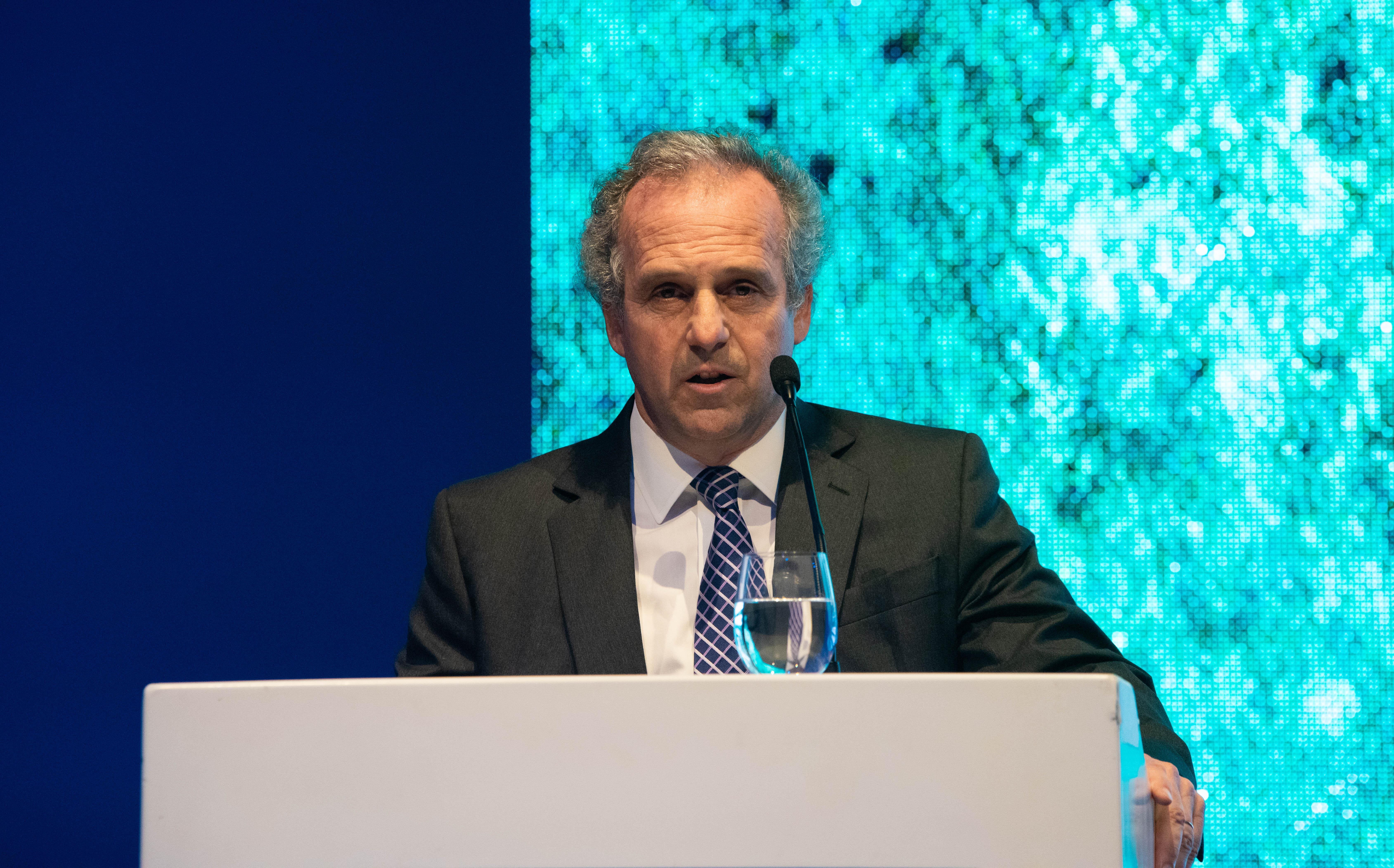 Roberto Alexander, general manager de IBM y presidente de AmCham, durante su discurso en la entrega del Premio Ciudadanía Empresaria. donde remarcó la importancia de este galardón que, desde hace 21 años, impulsa la sustentabilidad en la Argentina, fomentando un modelo de gestión empresarial orientada hacia ella