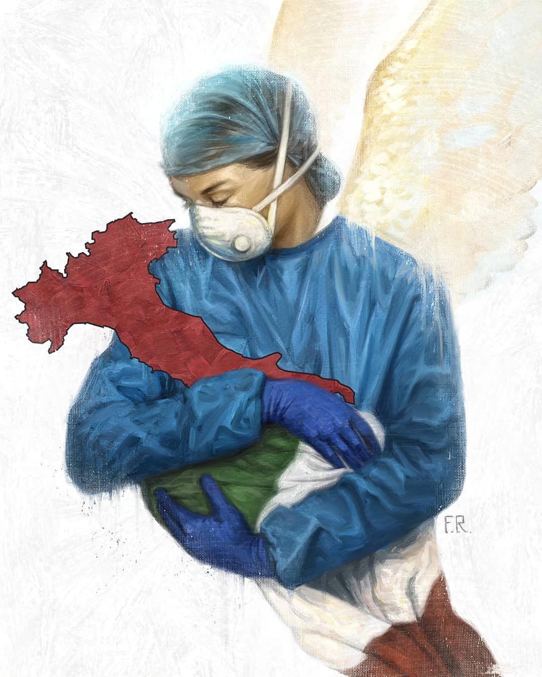 El homenaje de un artista a los trabajadores médicos italianos (Franco Rivolli/via REUTERS)