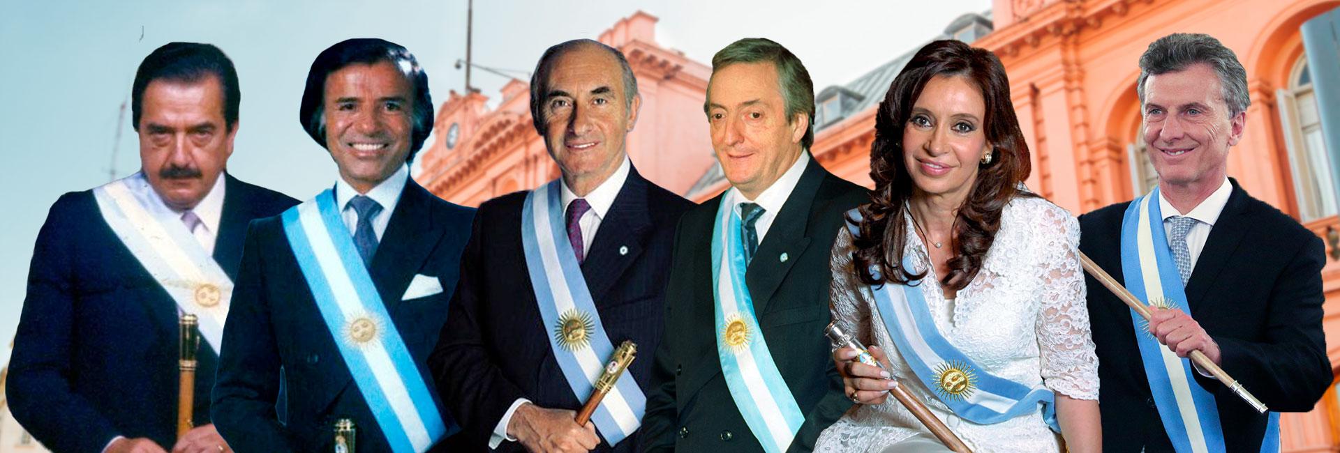 Los seis mandatarios que llegaron a la Casa Rosada desde el retorno democrático por los votos.