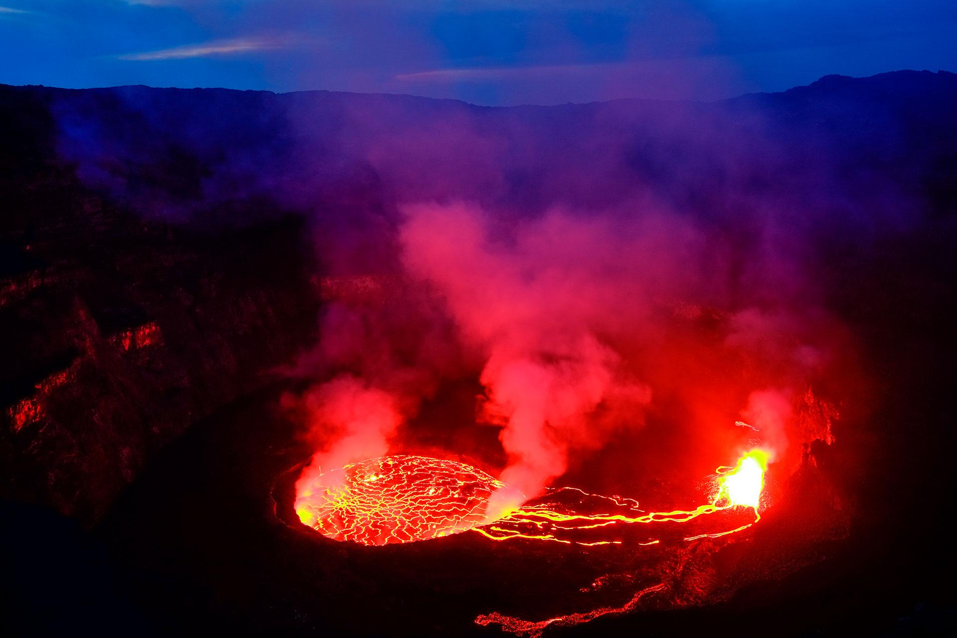 La lava del volcán Nyiragongo