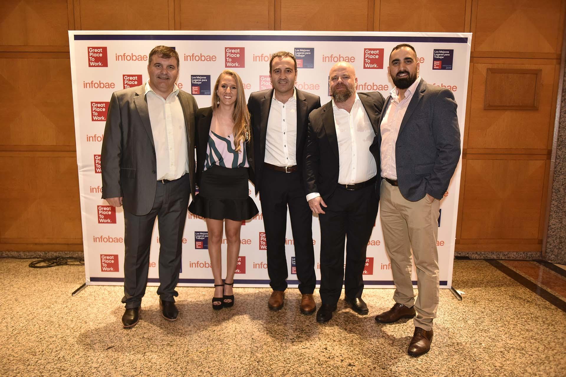 El equipo de Oldelval - Federico Zárate, gerente de confiabilidad; Adrián Mérida, gerente de operaciones; Hernán García, gerente de RRHH; Guadalupe Álvarez, analista de RRHH; Jorge Vugdelija, CEO