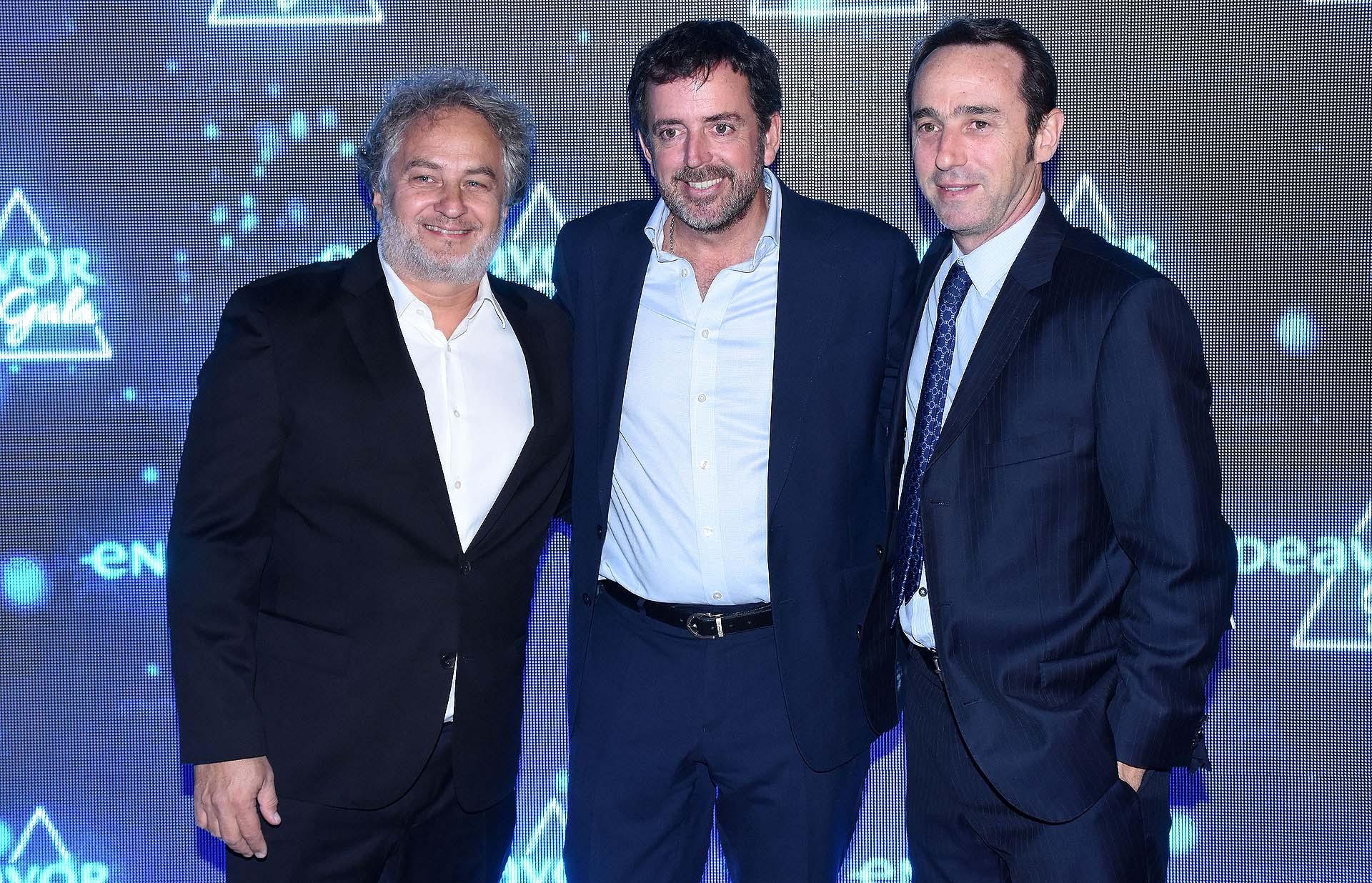 Guibert Englebienne, Mariano Bosch y Marcos Galperín, cofundador y CEO de Mercado Libre