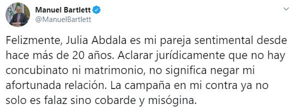Uno de los tuits publicados por Manuel Bartlett sobre su supuesto vínculo con 12 empresas, las cuales pertenecen a su pareja e hijos (Foto: Twitter/ManuelBartlett)