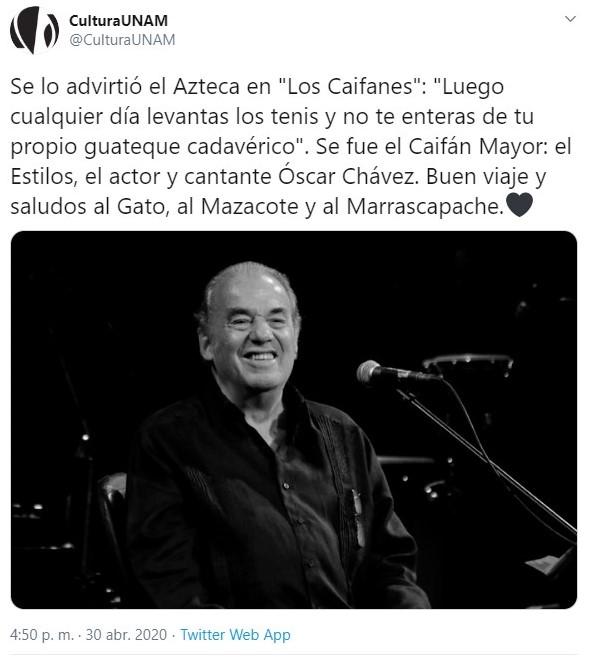 La UNAM no dejó de reconocer al exponente del canto nuevo (Foto: Twitter@@CulturaUNAM)