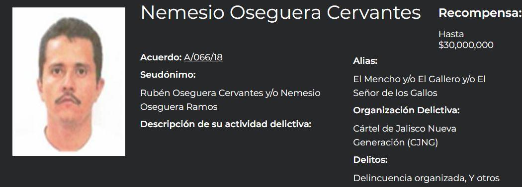 El Menchito es hijo de Nemesio Oseguera Cervantes, líder del CJNG, quien se encuentra en la lista de los más buscados en México (Foto: Gobierno de México)