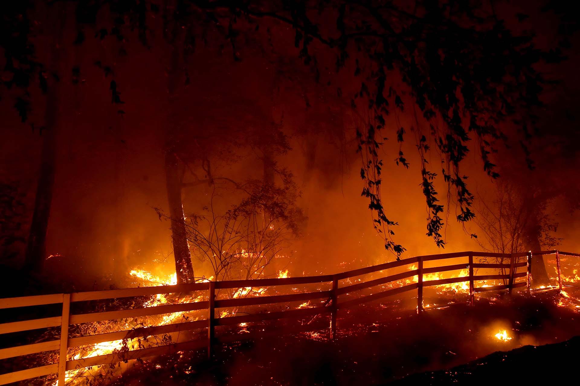 Fraught Road, en Santa Rosa, California. Impulsado por los fuertes vientos, el incendio Kincade ha quemado más de 30,000 acres y ha provocado casi 200,000 evacuaciones en el condado de Sonoma y más allá