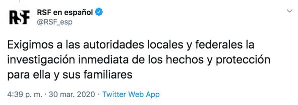 La organización exigió a las autoridades la investigación inmediata del caso y la protección de la víctima y sus familiares (Foto: Twitter)