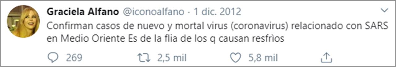 Graciela Alfano alertó sobre el coronavirus en diciembre de 2012 (Foto: Twitter)