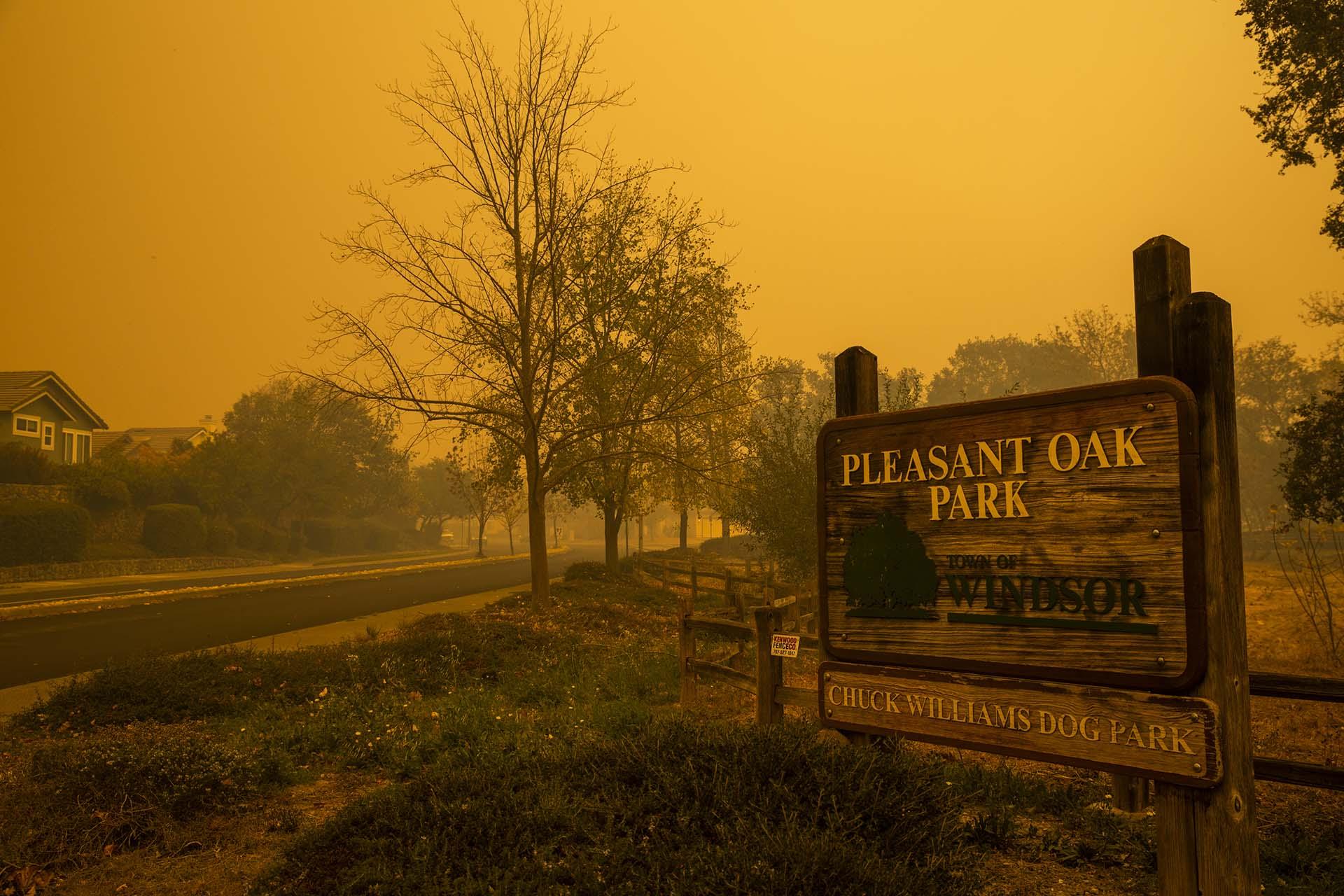 El humo envuelve Pleasant Oak Park mientras el incendio de Kincade arde cerca, en Windsor, California