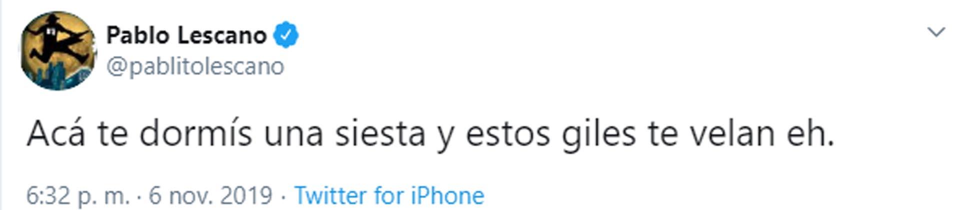 Uno de los mensajes del cantante (Foto: Twitter)