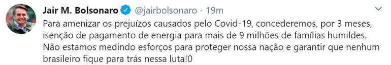 El anuncio que Jair Bolsonaro hizo a través de Twitter anunciando ayuda a las familias humildes de Brasil