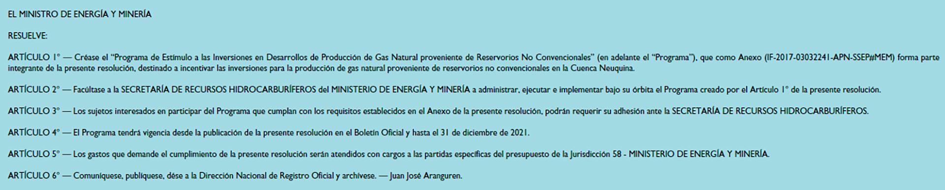 Los subsidios a la producción de gas no convencional dispuestos en la resolución 46/2017 del ex Ministerio de Energía y Mineria vencen el 31 de diciembre de 2021