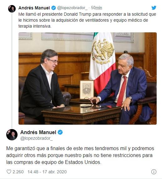 López Obrador calificó como un gesto de solidaridad con México las facilidades que otorgó el gobierno estadounidense (Foto: Twitter@lopezobrador_)