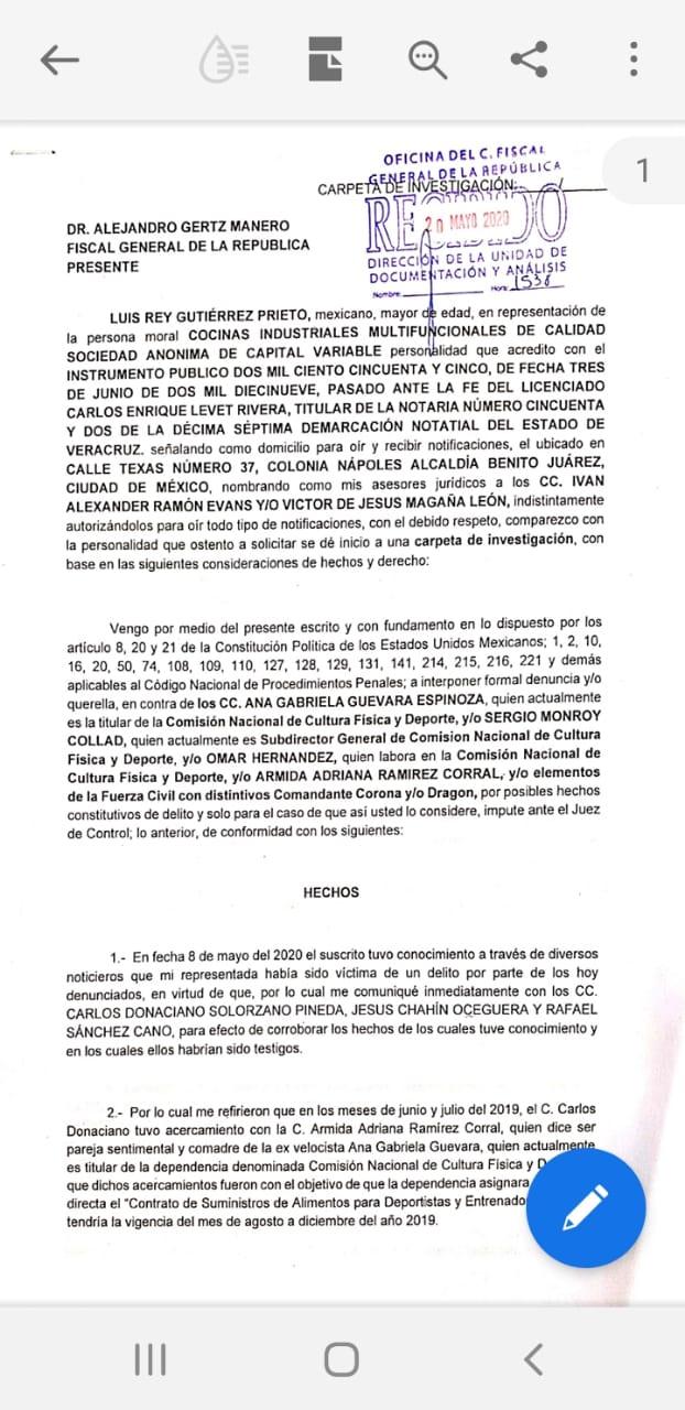 Parte de la denuncia presentada ante la FGR (Foto: Twitter @arteaganoticias)
