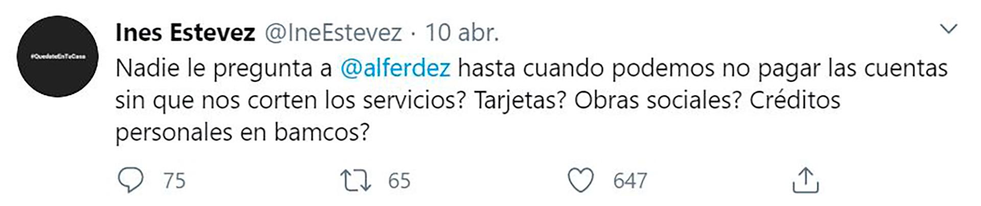 Estévez se preguntó también sobre los vencimientos de los servicios (Foto: Twitter)