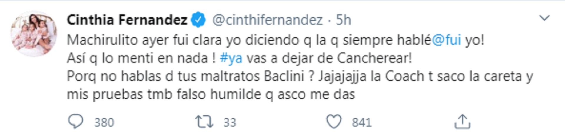 El tuit de Cinthia Fernández