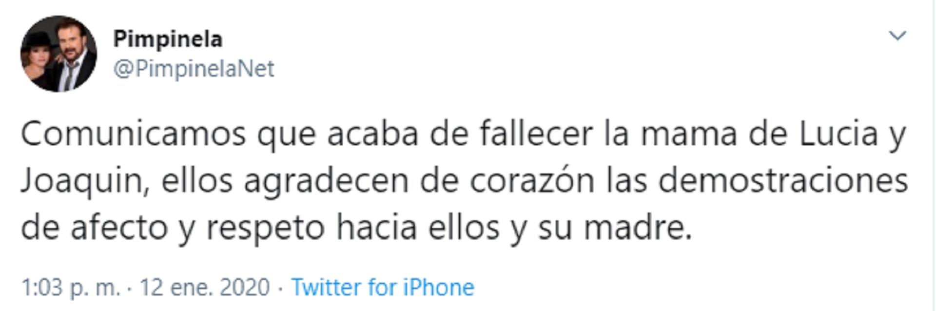 El comunicado que emitieron desde la cuenta oficial del Dúo Pimpinela este domingo 12 de enero tras la muerte de su madre