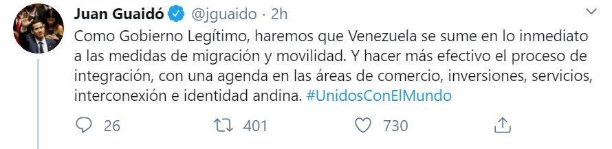 Guaidó quiere suscribir a Venezuela a los acuerdos migratorios del bloque
