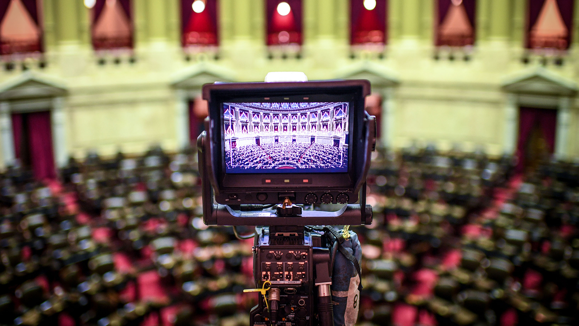 El recinto de la Cámara de Diputados vacío, horas antes del comienzo del discurso de apertura del presidente Alberto Fernández