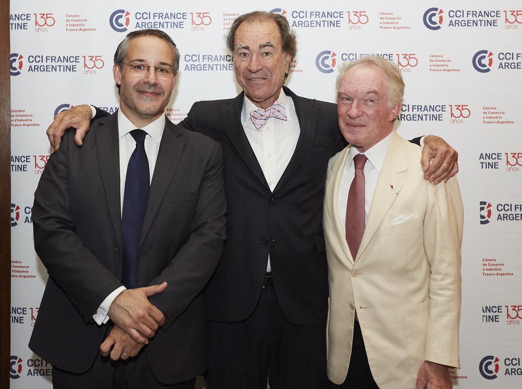 Rodrigo Pérez Graziano, presidente CCI France Argentine; Guillermo Dietrich, vicepresidente 2ª de la Cámara Argentina de Comercio y Servicios, y Máximo Bomchil