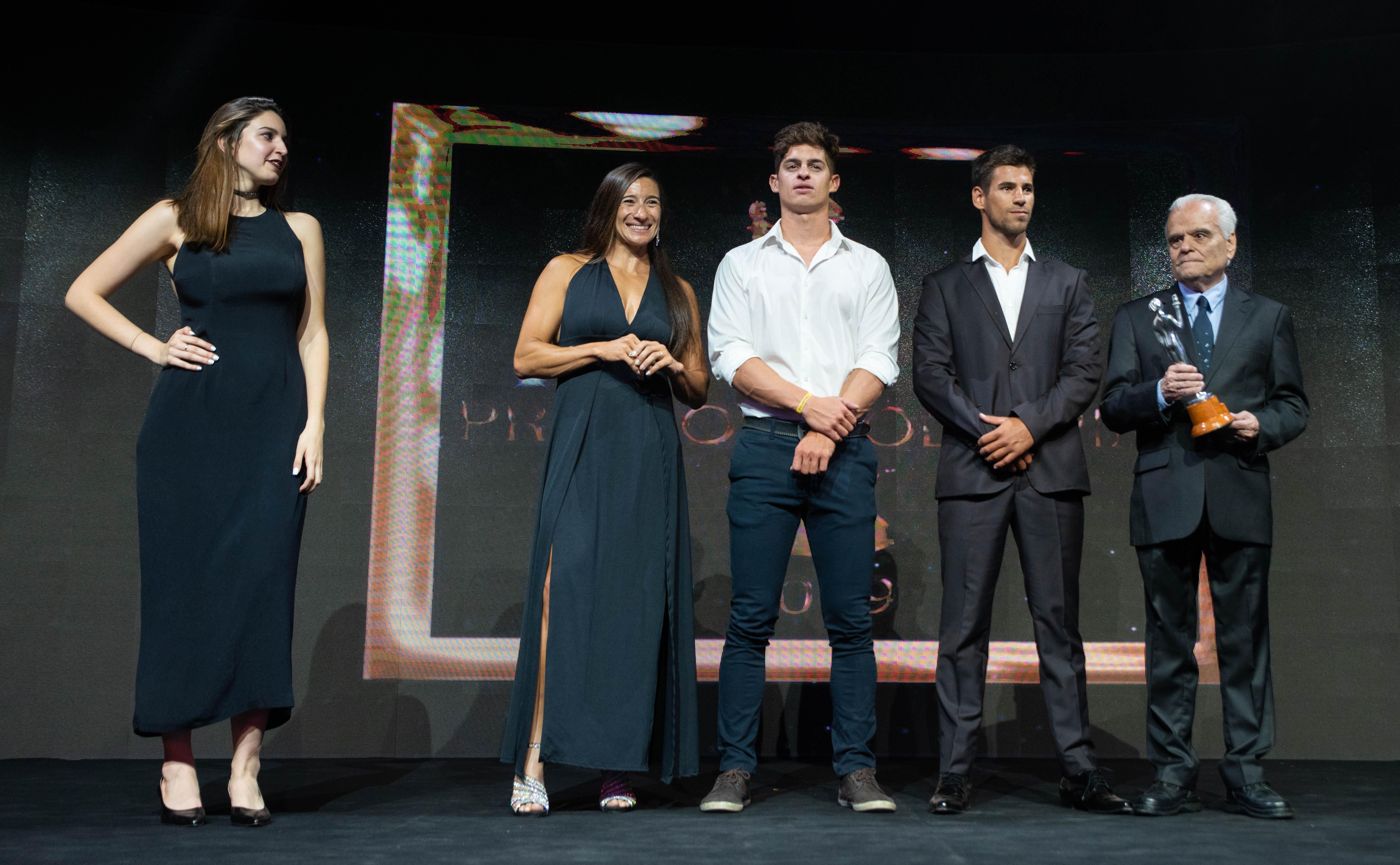 Sabrina Ameghino, Manuel Lascano y Agustín Vernice, protagonistas de la terna del canotaje