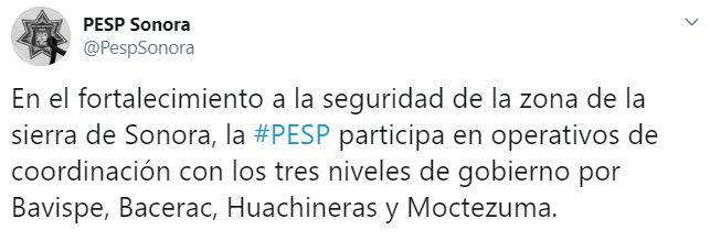 La Fiscalia de Sonora anunció diversos operativos en las zonas de Bavispe, Bacerac, Huachineras y Moctezuma (Foto: Twitter/PespSonora)