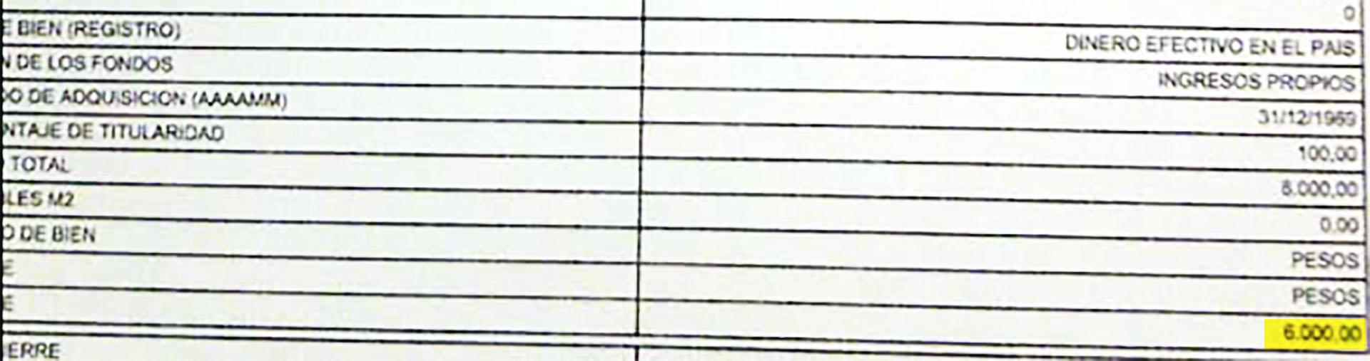 """Impresión papel del formulario original cargado a través de la página de la AFIP en la declaración """"Rectificativa 1""""."""