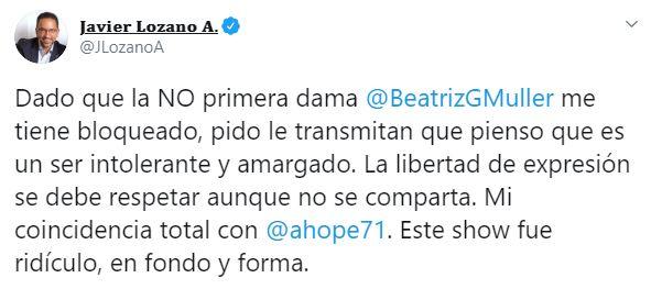 El político mexicano también manifestó su congruencia con el periodista de El Universal (Foto: Twitter / @ahope71)