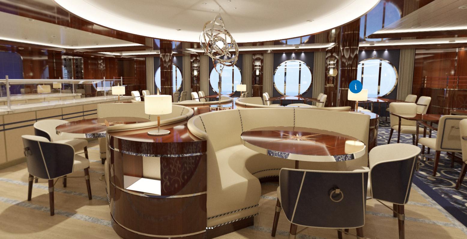 Las salas comunes del lujoso crucero