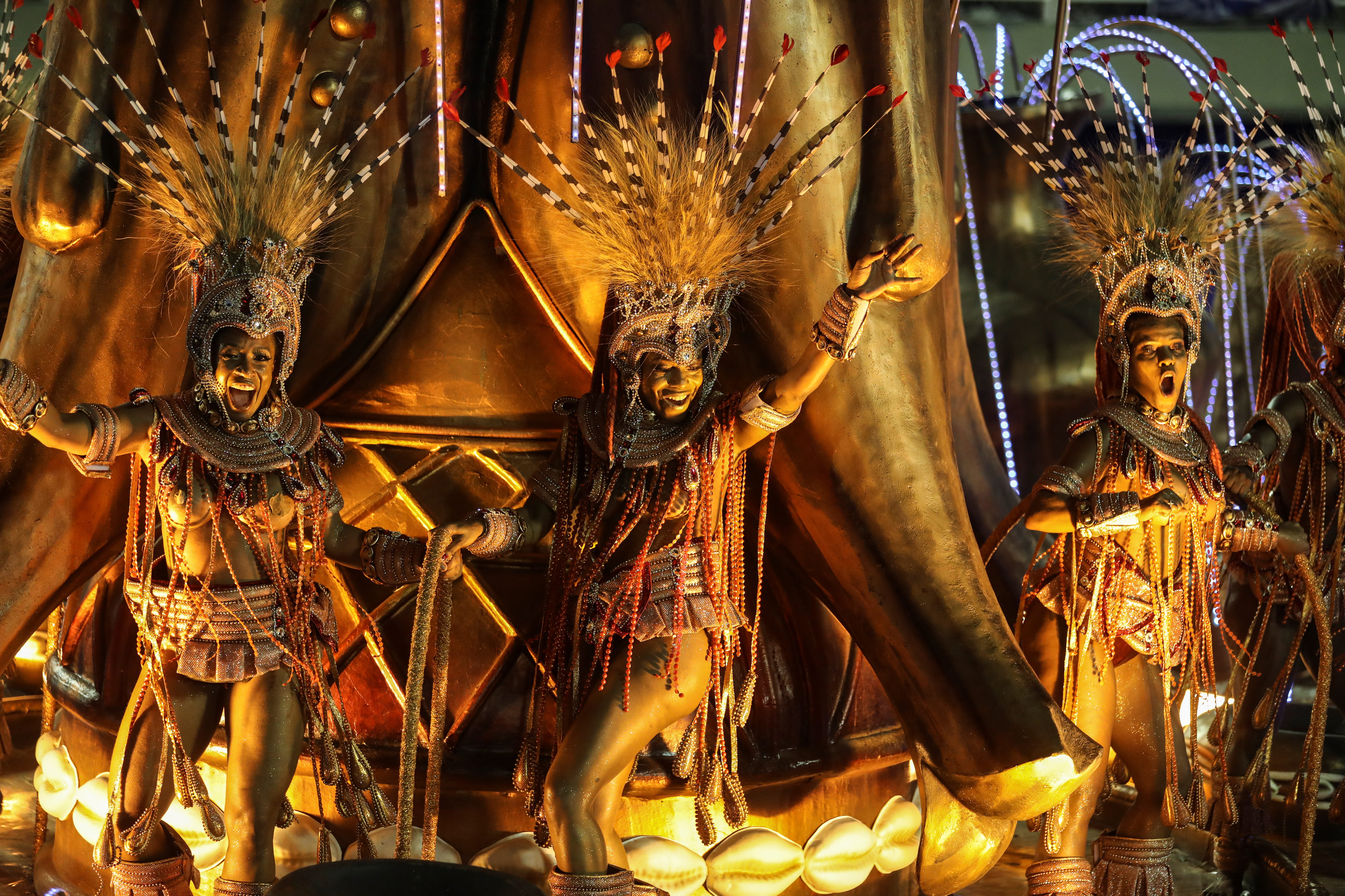 Revellers of Viradouro samba school perform on a float during the first night of the Carnival parade at the Sambadrome in Rio de Janeiro, Brazil February 23, 2020. REUTERS/Pilar Olivares