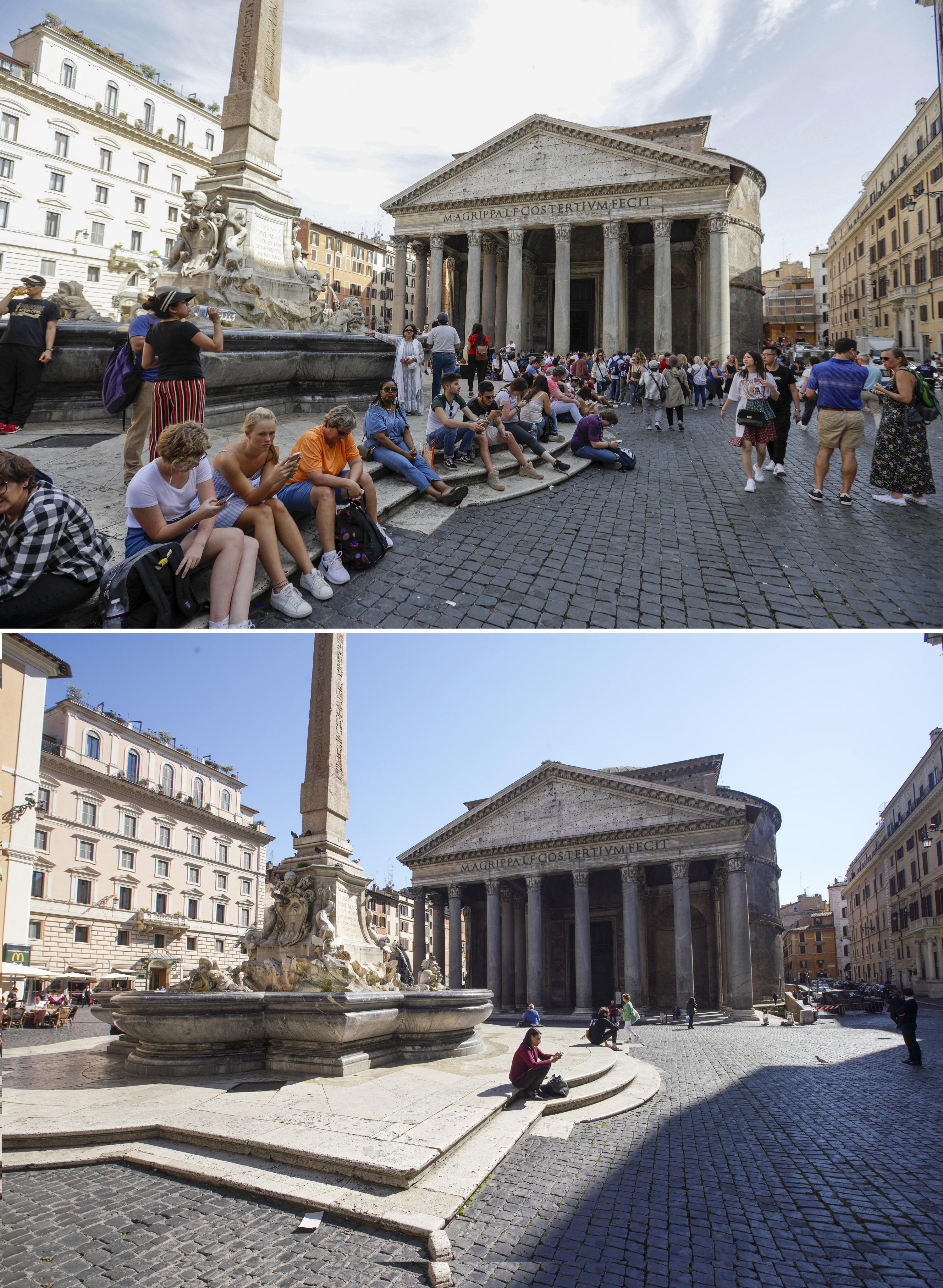ARCHIVO - En esta imagen combinada, turistas sentados ante el Panteón en Roma, a las 13:47 del viernes 7 de junio de 2019, y a las 13:00 del miércoles 11 de marzo de 2020. (AP Foto/Gregorio Borgia, Andrew Medichini)